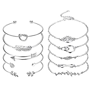 CASSIECA 10 Stücke Böhmen Armband Manschette Öffnen Armreif Für Frauen Mädchen Einfache Blatt Unendlichkeit Federn Brautjungfer Armband Kette Geschenke Schmuck Einstellbar