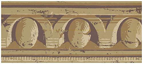 York Vorpastiertes Wallpaper Border - Victorian Distressed Latte Tan Wand-Rand Retro Design,Rollen 15 ft x 4.5 in. 4.5