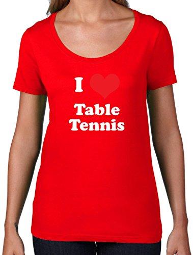 - Damen T-Shirt mit Rundhalsausschnitt- Rot - S (Ping Pong Kostüm)