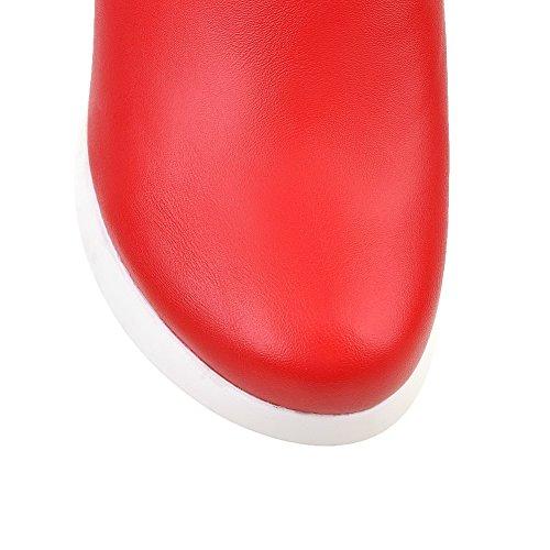 AgooLar Femme Haut Bas Zip Rond à Talon Haut Bottes avec Nœuds à Deux Boucles Rouge