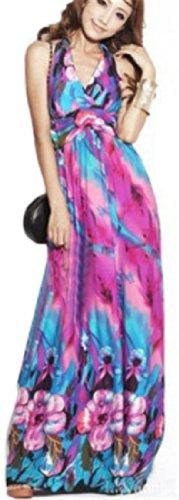 QIYUN.Z ocktail Mit V-Ausschnit Lange Maxi Sommer Abendsonne Hawaiian Boho Strandkleid Damen Floralem Kleid lila rot 4