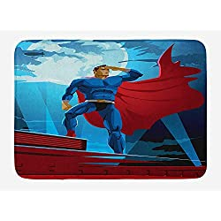 ARTOPB Superhero Bath Mat, Retro Cartoon Character Hero Saving People from Evil Strong Muscular Man with Cape, Plush Bathroom Decor Mat with Non Slip Backing, 23.6 W X 15.7 W Inches, Blue Red