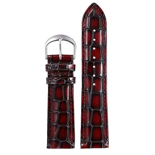 Burgund Korn (Seba5 Home 20mm Burgund Exotische Deluxe Uhrenarmbänder Aus echtem Rindsleder Riemen Ersatz Gepolstertes Alligator-Korn)