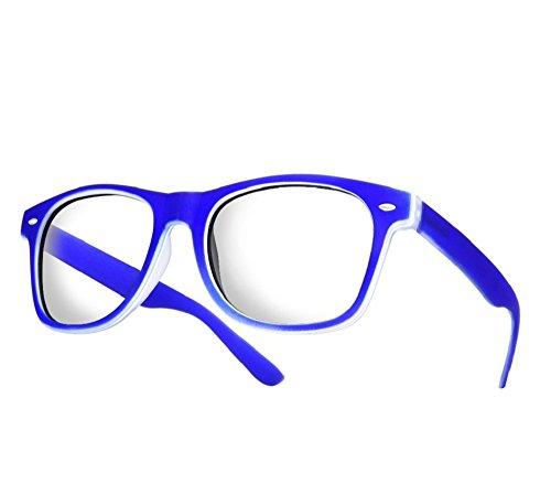NEW UNISEX (Damen Herren) Retro Vintage Brille CLEAR LENS Saubere Linsen Retro Vintage Shades Morefaz(TM) (Blue Rubi clear lens)