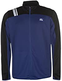 Lonsdale Mens 2 Stripe Tracksuit Jacket Top Coat Chin Guard Zip Full