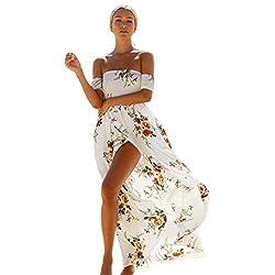 Rosennie Women Dress Off Shoulder Ladies Floral Printed Irregular Beach Slit Long Dress