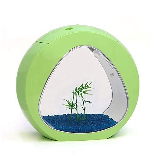 YXYXN Kreatives Aquarium, kleines dekoratives Goldfischbecken, ökologisches Acryl Desktop Aquarium mit eingebauten LED-Leuchten und Wasserpumpe, 4 Liter,Green -