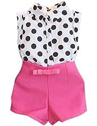 Trajes de tops y Pantalón Koly - Body para bebés, Lunar de la camiseta y pantalones del bowknot (140)