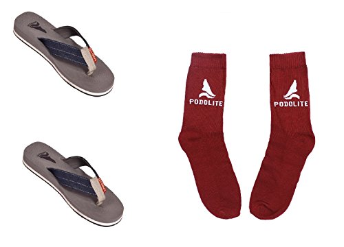 Podolite Denim MCP Flip Flop And House Slippers For Men(Packof 2) With Free Health Sock