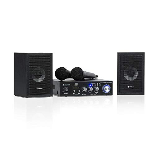 Auna Karaoke Star 2 Karaoke-Set • Sistema Karaoke • Impianto Karaoke • 2 x 50 W Max. • Bluetooth • Ingresso USB e Slot SD • Compresi Microfoni e Cavi per Altoparltanti • Colore Nero