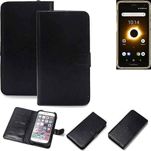 K-S-Trade® Wallet Case Handyhülle Für Ruggear RG650 Schutz Hülle Smartphone Flip Cover Flipstyle Tasche Schutzhülle Flipcover Slim Bumper Schwarz, 1x