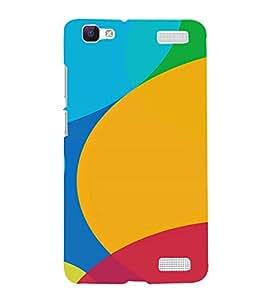 PrintVisa Rainbow Color Circle Pattern 3D Hard Polycarbonate Designer Back Case Cover for VivoV1MAX