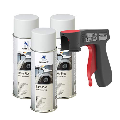 AUPROTEC Grundierung Haftgrund Füller Baso+ Lack Rostschutzgrundierung Spray grau 3X 400ml + 1x Original Pistolengriff -