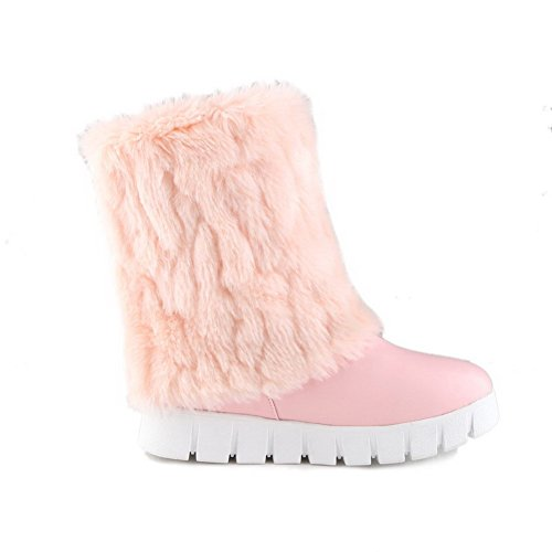 AllhqFashion Damen Weiches Material Rund Zehe Rein Niedriger Absatz Stiefel Pink