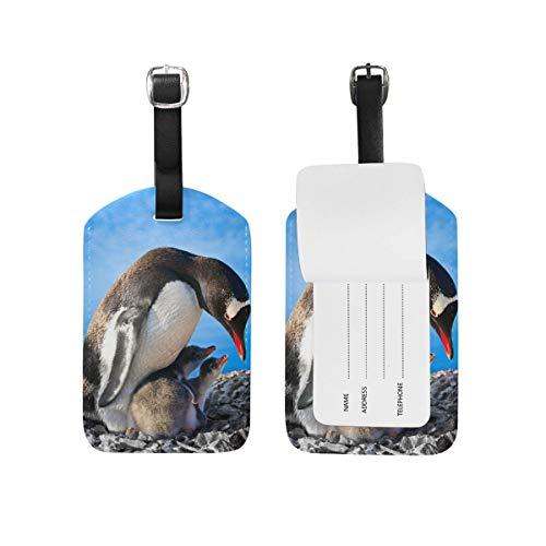 Pinguin Mutter Kinder gepäckanhänger pu Leder Tasche Koffer gepäck Label 2 stück Set -