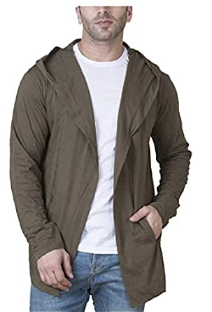 Veirdo Men's Cotton Blend Hooded Cardigan Casual wear, Party wear (Small, Olive)