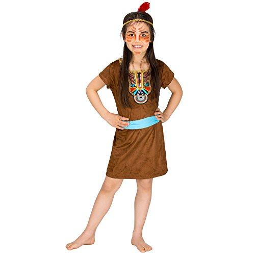 TecTake dressforfun Mädchenkostüm Indianergirl kleine Füchsin | Kleid Indianer inkl. Bindegürtel + Haarband mit Federn (10-12 Jahre | Nr. 300611)