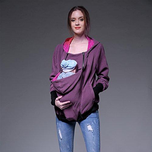 CHIC-CHIC Maternité Manteau Veste De Portage Amovible Multifonction Sweats à Capuche Pull Allaitement De Femme Pour Bébé pourpre