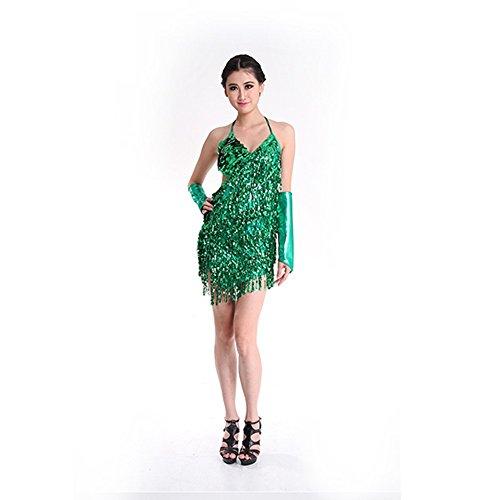 Latein Tanzen Kleid für Frauen,Doubleer Ärmellose Quaste Bling Cha Cha Salsa Rumba Sexy Tanzkleidung Mini Clubwear