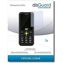 2 x disGuard Crystal Clear Lámina de protección para Caterpillar Cat B30 Dual SIM / B-30 - ¡Protección de pantalla cristalina con recubrimiento duro! CALIDAD PREMIUM - Made in Germany