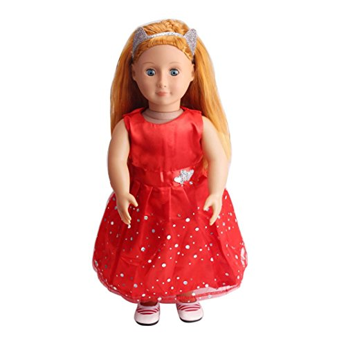 Baby Puppe Kleidung Kleid für 45,7cm American Girl Puppe Unsere Generation mingfa Pretty Hochzeit Party Rock Puppe Zubehör (Br-baby-puppe)
