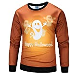 OIKAY Halloween Lover Scary Pumpkin Long Sleeve Pullover Men 3D Print Party Top Blouse Mantel Damen