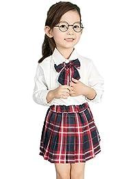 JYC Conjuntos para niñas Bebe,Conjuntos para Bebes,Niñito Bebé Chicas Enrejado Falda + Largo Manga Camiseta Trajes Conjunto