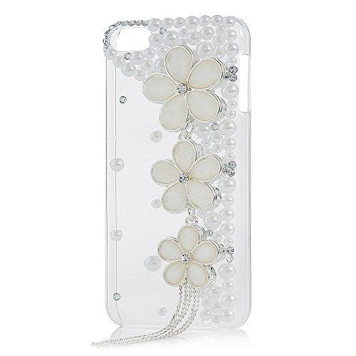 Spritech (TM) 3D Handmade Feashion Frauen Luxus Perle Strass Design Schöne Blume Quaste Dekor klar Hart Caver iPod Touch 6