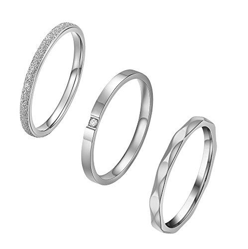 ALEXTINA 3 Stücke Damen Edelstahl 2MM Stapelbar Die Ewigkeit Ring Silber Überzogen Hochzeitsring Größe 46