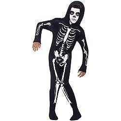 Smiffy's Smiffys-55012S Disfraz de Esqueleto, con Traje Entero con Capucha, Color Negro, S - Edad 4-6 años 55012S