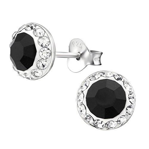 Laimons Damen-Ohrstecker Damenschmuck Halbkugel glitzer schwarz weiß Sterling Silber 925