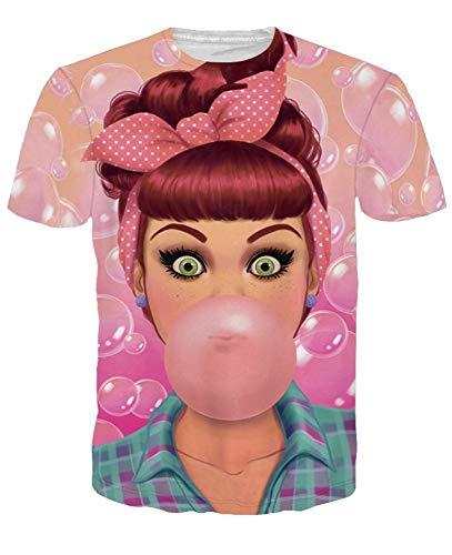 Girl Paare Kostüm - XIAOBAOZITXU T-Shirt 3D-Digitaldruck Pullover Kurze Ärmel Bubble-Girl Pink Schmal Geschnitten Cooles Lustiges Sommer-Unisex-Kostüm Für Paare XL