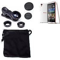 3in1 HTC Desire 820 Obiettivo Lente 180° Fisheye, Gran Angular 0.67x, Macro amplicación Len negro - K-S-Trade