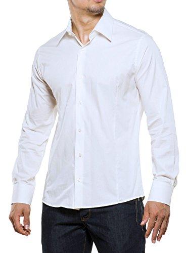 Reslad Herren-Hemd Langarmhemd Bügelleicht Slim Fit Figurbetont Uni RS-7002 Weiß