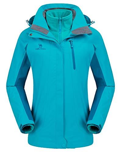 CAMEL CROWN Damen Outdoor 3-in-1 Skijacke, Zweiteilige Winterjacke mit Fleecefutter, Winddicht, Wasserdicht und Hält Warm