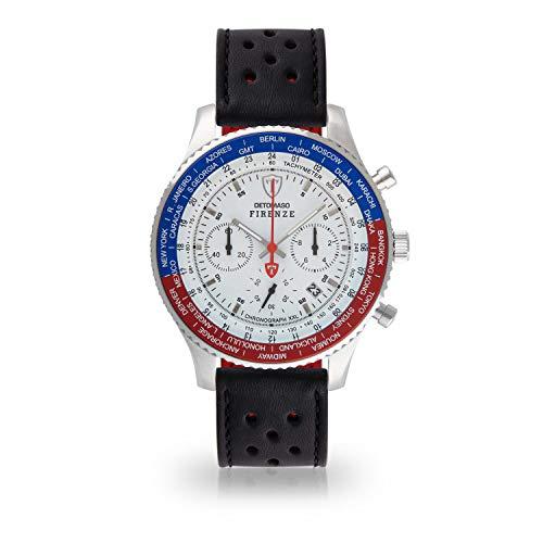 DETOMASO Firenze XXL Herren-Armbanduhr Chronograph Analog Quarz silbernes Edelstahlgehäuse weißes Zifferblatt (Leder - Schwarz (Racing Style))