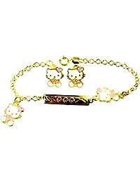 be1c8bd27545 Pulsera y Pendientes Tono Oro Amarillo Hello Kitty corazón Laca Rosa