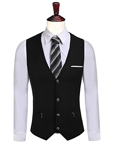 Coofandy Men's Casual Sleeveless Single-breasted Slim Fit Business Vest Waistcoat