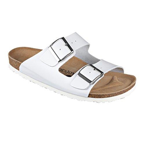 JOE n JOYCE London Synsoft Unisex Sandalen Pantoletten Narrow White