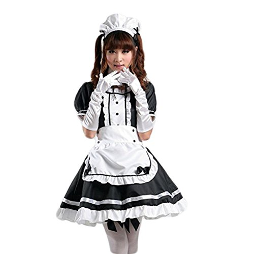 tzm2016 Anime Cosplay Costume French Maid Outfit Halloween, 4 pcs as a set including dress; headwear; apron; fake collar ( black , Size XL )