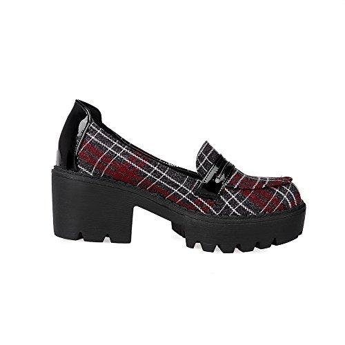 AllhqFashion Femme Matière Mélangee à Talon Correct Rond Tire Chaussures Légeres Rouge
