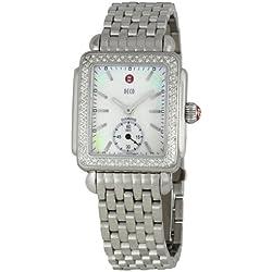 De acero inoxidable de corte de diamante para mujer de Michele Deco reloj de acero MWW06V000001