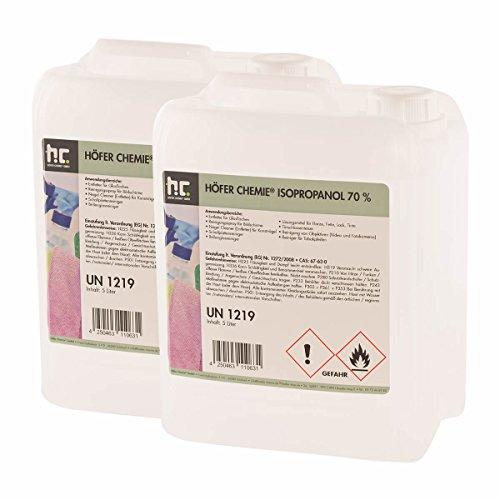 2 x 5 L Isopropanol 70% IPA von Höfer Chemie - perfekt als Lösungsmittel und Fettlöser geeignet - Nagel Cleaner, Bildschirmreiniger, Entfetter