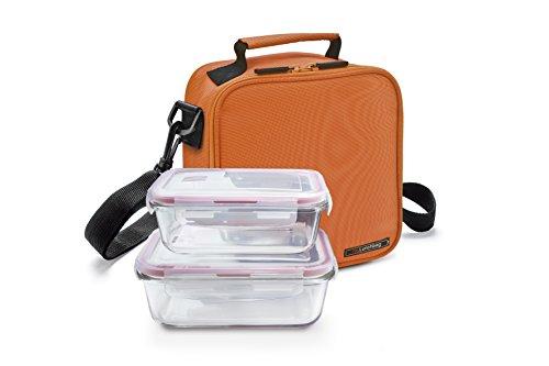 IRIS Basic Bolsa Porta Alimentos con 2 Contenedores, Tela, Naranja, 21x13.5x22 cm