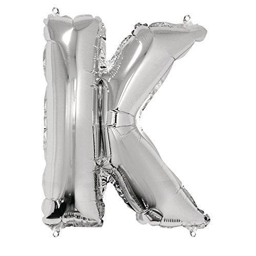 Rayher 87052606 Buchstabe K Party-/Buchstaben-/Folienballon, silber, 40cm hoch, XXL, zum Befüllen mit Luft, für Geburtstag, Hochzeit und Co (Namen Auf Sie Geburtstags-luftballons Mit)
