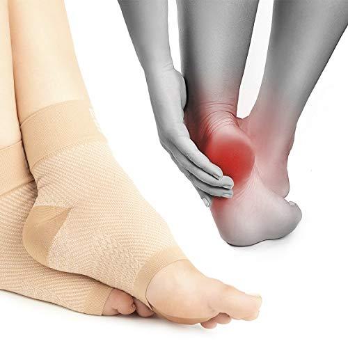 Premium Kompressionssocken lindern Fersensporn, Plantarfasciitis und Fuß Schmerzen | Fersensporn Socken beige