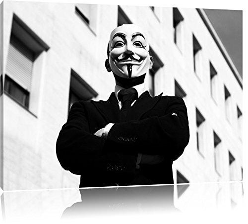 Maske Anonymus schwarz/weiß Format: 120x80 cm auf Leinwand, XXL riesige Bilder fertig gerahmt mit Keilrahmen, Kunstdruck auf Wandbild mit Rahmen, günstiger als Gemälde oder Ölbild, kein Poster oder Plakat