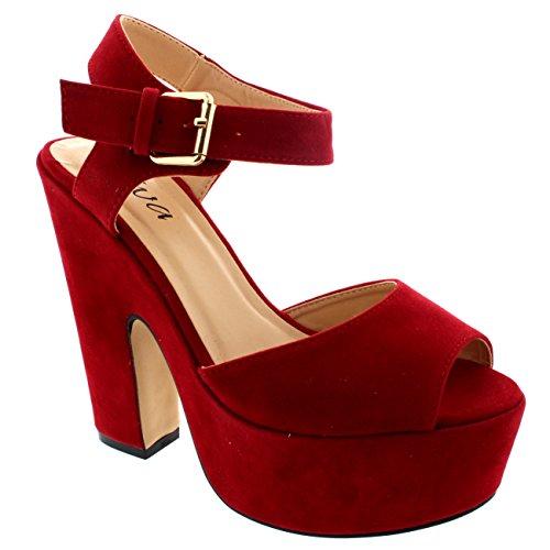 Mujer-Correa-Tobillo-Zapatos-Plataforma-Tacones-Faux-Gamuza-Sandalias-Rojo-37