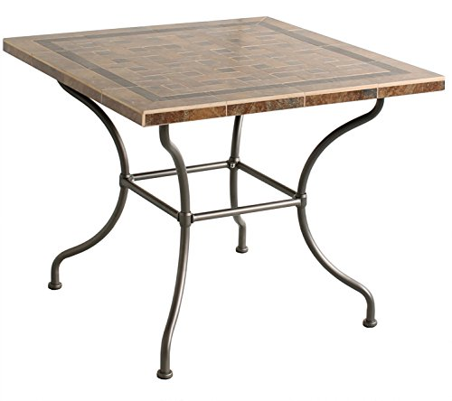 "GTH 3028816 90 x 90 cm ""Gigondas"" Dining Table with Ceramic Top - Iron Grey"