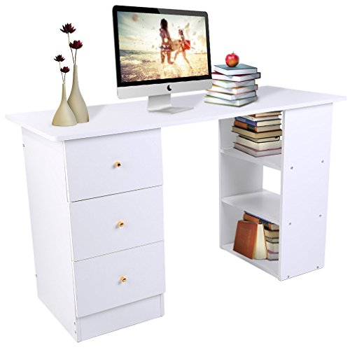 Homgrace Schreibtisch Computerschreibtisch Eckschreibtisch Computertisch PC Tisch Laptoptisch mit 3 Schubladen und 3 Fächer, 120 x 49 x 72cm (L x B x H) - Weiß (In L-form Holz-computer-schreibtisch)